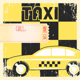 Taxi cab retro poster. Taxi cab retro grunge checkered yellow poster Stock Photo