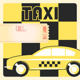 Taxi cab retro poster. Taxi cab retro vintage checkered yellow poster Stock Images