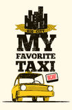 Taxi cab retro poster Royalty Free Stock Image