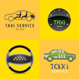 Taxi, cab set of vector logo, icon, symbol. Car hire black and yellow background, badge, app, web emblem. Steering wheel design element stock illustration