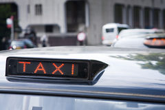 Taxi cab signs. London black cab signs showing 'for hire Royalty Free Stock Photos