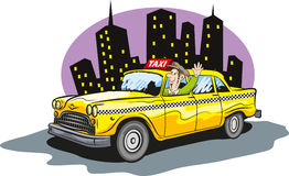 Taxi cab. Vector illustration of taxi cab driver Stock Photo