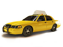 Taxi cab on a white background with room for text or copyspace Royalty Free Stock Images