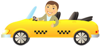 Taxi cabriolet with man showing thumb up Stock Photo