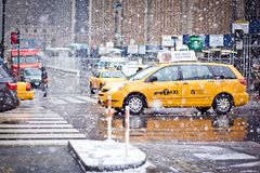 Taxi Cabs in blizzard in New York Royalty Free Stock Images