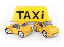 Taxi cabs and roof sign Royalty Free Stock Photo