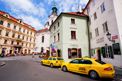 Taxi cabs waiting for the tourists in historical city Stock Photography
