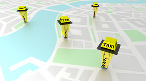 Taxi call boxes on a generic map illustrating taxi stand locations Stock Photo