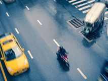 Taxi Cap car moving on street City transportation top view. Taxi Cap car moving on street urban City transportation Asia Travel stock image