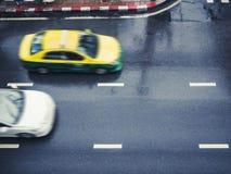 Taxi Cap car moving on street Urban City transportation. Asia Travel stock photo