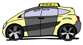 Taxi car. Hand drawn modern taxi car Stock Photo