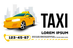 Taxi car banner poster. Taxi car on white background .taxi car banner, poster, template transportation services banner .Vector illustration Stock Photos