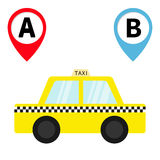 Taxi car cab icon. Placemark Map pointer navigation marker set. Trip from A point to B. Cartoon transportation. Yellow taxicab. Ch Stock Image
