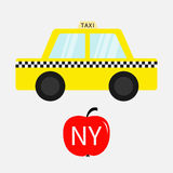 Taxi car cab icon. Red apple fruit. New York symbol. Cartoon transportation collection. Yellow taxicab. Checker line, light sign. Royalty Free Stock Image