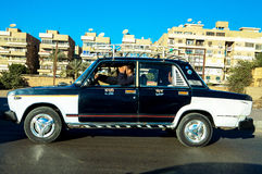 Taxi Car in Cairo. This is a picture of a taxi in downtown Cairo.  December the 13th, 2007, Giza, Cairo, Egypt Royalty Free Stock Photo