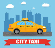 Taxi car on city background Royalty Free Stock Photo