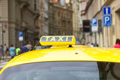 Taxi car in the city street Stock Photography