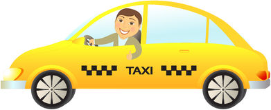 Taxi car with driver thumb up. Cartoon isolated taxi car with driver thumb up royalty free illustration