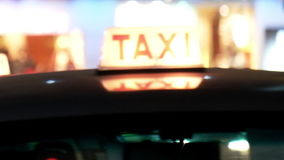 Taxi car on the evening street. Hong Kong stock video footage