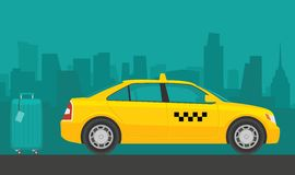 Taxi car. Flat styled  illustration. City background Royalty Free Stock Photo