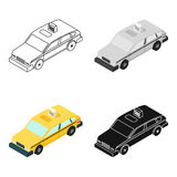 Taxi car icon in cartoon style isolated on white background. Transportation symbol stock vector illustration. Royalty Free Stock Photography