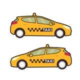Taxi car icon. Vector flat line illustration. Pop art style. Stock Photos