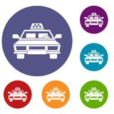 Taxi car icons set Royalty Free Stock Photo