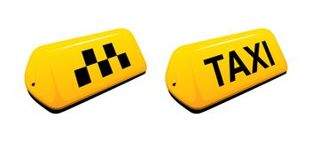 Yellow taxi lamp on white background. Taxi car lamp on white background yellow sign Stock Image