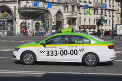 Taxi car in Lev Tolstoy Square in St. Petersburg Royalty Free Stock Images