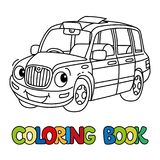 Funny small taxi car or London cab. Coloring book. Taxi car or London cab coloring book for kids. Small funny vector cute vehicle with eyes and mouth. Coloring stock illustration