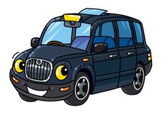 Funny small taxi car or London cab royalty free illustration