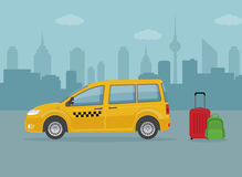 Taxi car and luggage on city background. Flat style, vector illustration Stock Photos