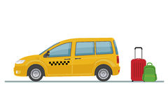 Taxi car and luggage isolated on white background. Royalty Free Stock Photography