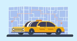 Taxi car with map on background. Geolocation marker with route. Service for transportation passengers. Flat vector. Yellow taxi car with map on background Royalty Free Stock Image