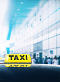 Taxi car near airport gate Royalty Free Stock Photo