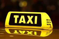 Taxi. Car at Night, Prague, Czech Republic stock photo