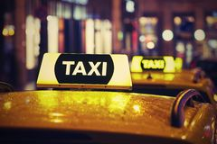 Taxi car at night Stock Photos