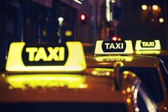 Taxi car at night Royalty Free Stock Image