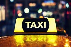 Taxi car at night Royalty Free Stock Image