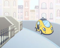Taxi car parked at a house entrance in the street of the city. Vector illustration. Stock Images