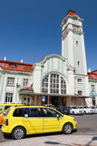 Taxi car parked near railway station of Burgas Stock Photos