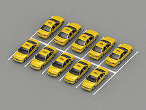 Taxi car parking Orthographic view. 3d rendering Royalty Free Stock Photography
