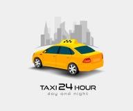 Taxi car poster, banner, header design background. Taxi services. Taxi yellow car. Taxi car vector illustration. Taxi car  on white background. Taxi services Stock Image
