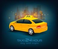 Taxi car poster, banner, header design background. Taxi services. Taxi yellow car. Taxi car vector illustration. Taxi car  on white background. Taxi services Royalty Free Stock Photography