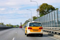 Taxi car on road in Jurmala. Taxi car on the road in Jurmala in Latvia stock photos
