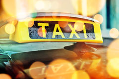 Taxi car roof sign Stock Images