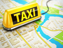 Taxi car sign on the city map. Royalty Free Stock Photo