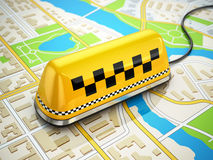 Taxi car sign on the city map. Royalty Free Stock Photography