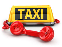 Taxi car sign and  telephone on white  background. 3d Stock Photo