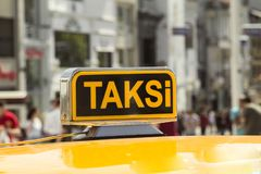 Taxi car in the street. Taxi car on the street- Istanbul/Turkey royalty free stock photos